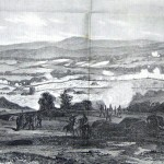 Union batteries on the left flank of the Union line fire on the Confederates (Edwin Forbes, artist; Frank Leslie's Illustrated Newspaper, July 18, 1863; courtesy of Princeton University Library)