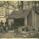 The cookhouse for the 13th Massachusetts Infantry Regiment in Williamsport (Courtesy of Brad Forbush, http://www.13thmass.org/)