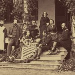 Ellen McClellan, wife of General George McClellan, U.S. Army officers, and members of the Lee family pose on the porch of the Lee home south of Burkittsville in Frederick County. Ellen McClellan, shown second from right, stayed in the Lee home after the Battle of Antietam. (Oct. 1862, Alexander Gardner, photographer; Library of Congress)
