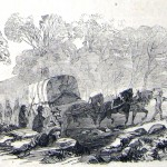 Union wagoneers drive loads of stones, procured by the labor of Confederate prisoners armed with picks, up Loudoun Heights in an effort to repair the roads (Frank Leslie's Illustrated Newspaper, November 1, 1862; courtesy of Princeton University Library)
