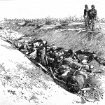 A caption accompanying this sketch attributes the dead Confederates to D. H. Hill's division (Robert Underwood Johnson and Clarence Clough Buel, eds., Battles and Leaders of the Civil War, vol. 2 [New York: The Century Co., 1887], 669)
