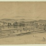 The site near Williamsport where part of General Robert E. Lees forces crossed the Potomac (July 5, 1863, Edwin Forbes, artist; Library of Congress)