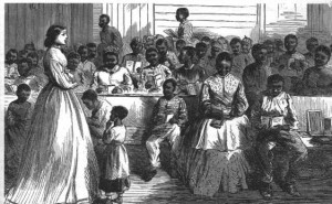 After the war, the Freedmen's Bureau helped African Americans establish schools throughout the South, such as this one in Vicksburg, Mississippi  (Harper's Weekly, June 23, 1866; NPS History Collection)