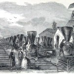 Locomotives damaged by the Confederates before they vacated Martinsburg, VA (Harper's Weekly, August 3, 1861; NPS History Collection)