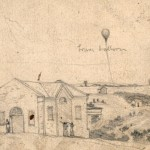 Detail of the left panel showing Civil War aeronaut Thaddeus Lowes balloon, which made ascensions near Sharpsburg and Bolivar Heights (September 1862, Edwin Forbes, artist; Library of Congress)