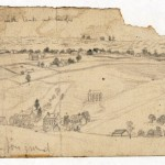 The middle panel of Forbes sketch, showing the town of Bolivar, and tents and troops on Bolivar Heights (September 1862, Edwin Forbes, artist; Library of Congress)