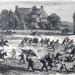 The 6th Michigan Cavalry charges over Confederate earthworks and scatters the Confederate defenders on July 14, 1863 (Frank Leslies Illustrated Newspaper, August 8, 1863; NPS History Collection)