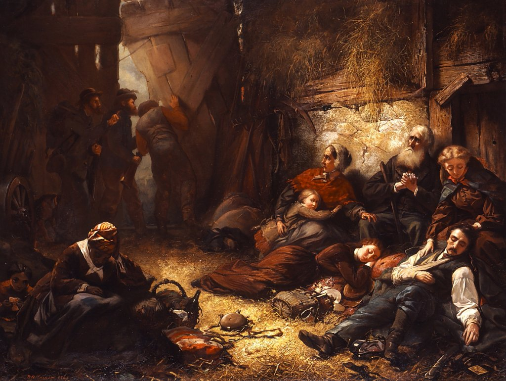 Detail from The Burning of Chambersburg, painted by Daniel Ridgway Knight, depicting Chambersburg civilians taking shelter in a barn as Confederates torch the town in 1864  (Washington County Museum of Fine Arts)