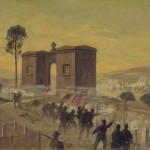 Confederates under General Richard S. Ewell charge the waiting Union defenses at the cemetery gatehouse (Edwin Forbes; Library of Congress)