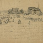 The original sketch of the charge made by the 6th Michigan Cavalry (July 14, 1863, Edwin Forbes, artist; Library of Congress)