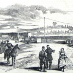 """At the railroad station in Charlestown, VA, a local woman refuses to acknowledge two nearby Union officers; the author of the accompanying article writes that he will never forget """"how she turned up her nose. I doubt if she will ever get it down again."""" (Frank Leslie's Illustrated News, November 15, 1862; courtesy of Princeton University Library)"""