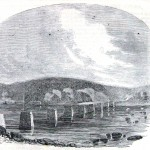 Ruins of the Potomac River bridge at Berlin (now Brunswick), MD (Harper's Weekly, September 7, 1861; NPS History Collection)