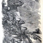 Bollman's Rock at Point of Rocks in Frederick County, where the Baltimore & Ohio Railroad and the Chesapeake & Ohio Canal run side-by-side (Harper's Weekly, June 8, 1861; NPS History Collection)
