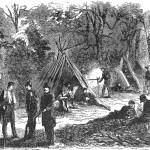 Soldiers from Virginia camping in the woods near Leesburg, Virginia (Harper's Weekly, November 9, 1861; NPS History Collection)