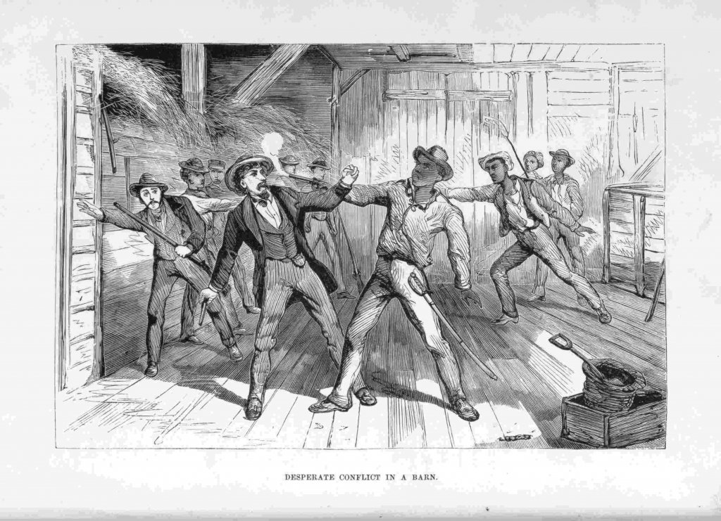Wesley Harris fights his pursuers in a barn in Taneytown, MD (William Still, Still's Underground Railroad Records, 1886)