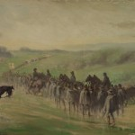 A lengthy column of Union soldiers marches through the rain near Emmitsburg, Maryland after the Battle of Gettysburg (July 7, 1863, Edwin Forbes, artist; Library of Congress)