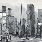 Ruins of the Bank of Chambersburg and the Franklin House (Harper's Weekly, August 20, 1864; courtesy of Princeton University Library)