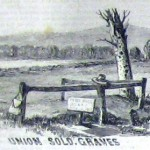 The fence near the grave of a Union soldier is adorned with a knapsack and hat (Joseph Becker, artist; Frank Leslie's Illustrated Newspaper, December 5, 1863; courtesy of Princeton University Library)