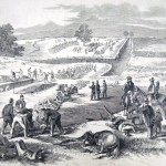 Soldiers of the 130th Pennsylvania Regiment bury the bodies of both their compatriots and the 138 corpses of Confederates left behind in the Bloody Lane (F. H. Schell, artist; Frank Leslie's Illustrated News, October 18, 1862; courtesy of Princeton University Library)