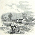 Union soldiers guarding the Baltimore and Ohio Railroad tracks in Hancock (Theodore R. Davis, artist; Harper's Weekly, November 8, 1862; NPS History Collection)