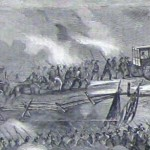 Detail of the previous image showing ambulances moving towards the battlefield