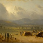 """Camp of the Seventh Regiment near Frederick, Maryland, 1863,"" painted by Sanford R. Gifford in 1864, and showing the 7th Regiment of the New York State Militia encamped between Frederick and Jefferson following the Battle of Gettysburg (Courtesy of the New York State Military Museum)"