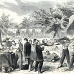 When Waud's previous sketch was published in Harper's Weekly, the soldier whose leg is being amputated is turned around so viewers will not see the gory scene (Alfred R. Waud, artist; Harper's Weekly, October 11, 1862; Library of Congress)