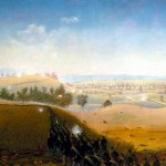 """""""Wasted Gallantry"""" by Captain James Hope, showing an ill-fated charge by the 7th Maine Regiment through Henry Piper's cornfield on the afternoon of the battle (James Hope, artist, painted by 1892; Antietam National Battlefield)"""