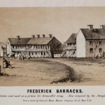 "The Frederick Barracks, also called the ""Hessian"" Barracks, were used to house prisoners-of-war during the Revolutionary War. At the time of this sketch in 1862, the barracks housed soldiers of the Potomac Home Brigade. (Cpl. Henry Bacon, artist; courtesy of the American Antiquarian Society)"