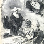 A Sister of Charity stands by the bedside of a dying soldier and ministers to the man in his final hours (Harpers Weekly, September 6, 1862; NPS History Collection)