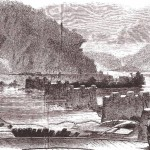 The destroyed railroad bridge from the Harpers Ferry side (D.H. Strother, artist, Harpers New Monthly Magazine, July 1866:144)