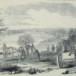 A Union cannon, near Seneca Creek in Montgomery County, MD, preparing to fire on a Confederate encampment across the Potomac River in September 27, 1861 (Frank Leslie's Illustrated Newspaper, November 2, 1861, p. 375; NPS History Collection)
