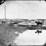 The Virginia side of the pontoon bridge crossing at Berlin (now Brunswick), Maryland (Alexander Gardner, photographer, October 1862; Library of Congress)