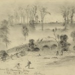 """""""The Charge Across Burnside Bridge,"""" by Edwin Forbes, September 17, 1862 (Library of Congress)"""