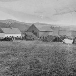 A diverse array of shelters make up the Keedysville field hospital (September 1862, Alexander Gardner, photographer; Library of Congress)