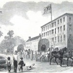 United States Army supply wagons passing through Hagerstown (Harper's Weekly, September 28, 1861; NPS History Collection)