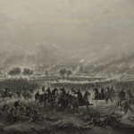 "An 1876 engraving of James Walker's 1870 painting ""The Repulse of Longstreets Assault at the Battle of Gettysburg"" (Library of Congress)"