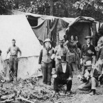 Several women, in the background, were part of this field hospital in Gettysburg (National Park Service)