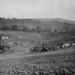 Tents for wounded soldiers are covered with hay at the Keedysville field hospital (September 1862, Alexander Gardner, photographer; Library of Congress)