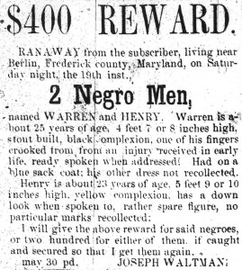 Notice for a runaway slave (Frederick Examiner, May 30, 1855)