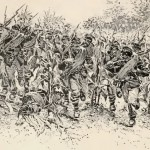 The Union charge through what became known as The Cornfield (Battles and Leaders of the Civil War [New York: The Century Co., 1887], 630)