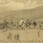 Union soldiers march past Emmitsburg in pursuit of the Confederate army (Alfred R. Waud, artist; Library of Congress)