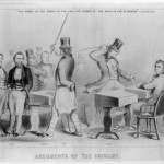 This image by Winslow Homer shows the vicious caning of Senator Charles Sumner of Massachusetts by Representative Preston Brooks of South Carolina in 1856 over the issue of slavery, one of the incidents in the 1850s that created a deep division between the North and the South (Library of Congress)