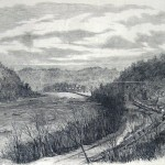 Union regiments crossing the Potomac River from Sandy Hook, Maryland, pictured in the foreground, to Harpers Ferry, in the center of the image, on a pontoon bridge a third of a mile in length and consisting of planks laid atop small boats (The New-York Illustrated News, April 5, 1862; courtesy of Princeton University Library)
