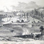 A skirmish at Dam No. 5 near Williamsport, December 8, 1861, in which Confederates unsuccessfully tried to destroy the dam (Frank Leslie's Illustrated Newspaper, January 18, 1862; Henry Bacon, artist; courtesy of Princeton University Library)