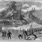 The 118th Pennsylvania Regiment (also known as the Corn Exchange Regiment) crossing the Potomac River near Shepherdstown to pursue the Confederates after the Battle of Antietam (courtesy of Timothy R. Snyder; A.R. Waud, artist; originally published in Harper's Weekly, October 11, 1862)