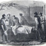 Four men carry in a body to the office of embalmer Dr. Holmes in Sharpsburg (The New-York Illustrated News, November 8, 1862; courtesy of Princeton University Library)