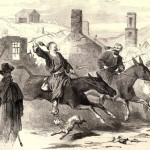 Two members of a Zouave regiment race mules in Harpers Ferry in October 1862 (Originally appeared in Frank Leslies Illustrated Newspaper, November 15, 1862; source for this image: Louis Shepheard Moat, ed., Frank Leslies Illustrated History of the Civil War [NY: Mrs. Frank Leslie, 1895], 223)