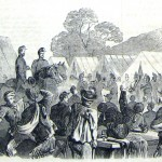 The band members of Hawkins's Zouaves perform at a field hospital near Keedysville, Maryland (F. H. Schell, artist; Frank Leslie's Illustrated News, November 1, 1862; courtesy of Princeton University Library)