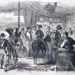 A sutler's store in Harpers Ferry is well attended by soldiers looking to purchase alcohol, tobacco, and other goods (Frank Leslie's Illustrated Newspaper, November 29, 1862; courtesy of Princeton University Library)
